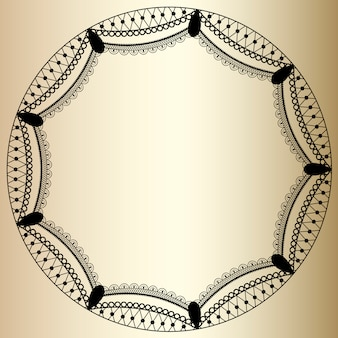 Round lace frame on golden background