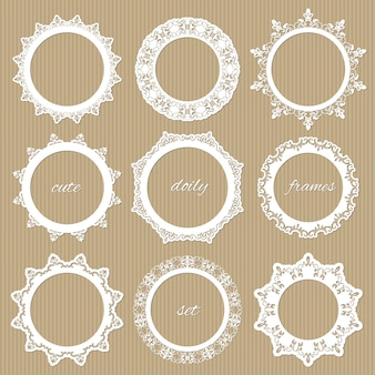 Round lacy doilies set.