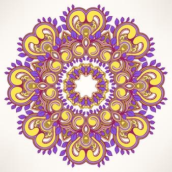 Круглый лист фиолетовый узор
