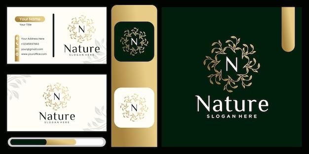 Round leaf vector logo design ecofriendly concept organic leaf logo luxury leaf graphic