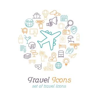 여행 및 관광에 대 한 라운드 라인 여행 아이콘 개념