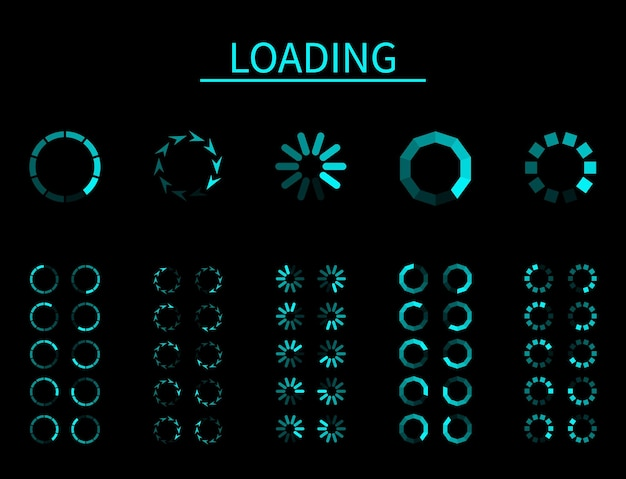 라운드 로더. 점진적 버퍼링 업로드 로드, 프레임 애니메이션, 앱 및 인터넷, 컴퓨터 및 모바일용 디지털 인터페이스, 검정색 배경 벡터 격리 세트에 대한 대기 다운로드의 파란색 표시