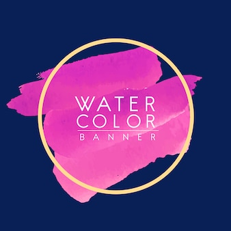 Round magenta watercolor banner vector