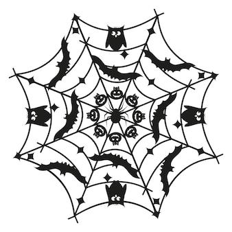 라운드 만다라 할로윈 검은 템플릿, 흰색에 고립 된 그림