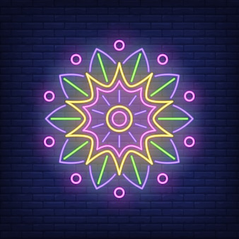 Round mandala ornament neon sign