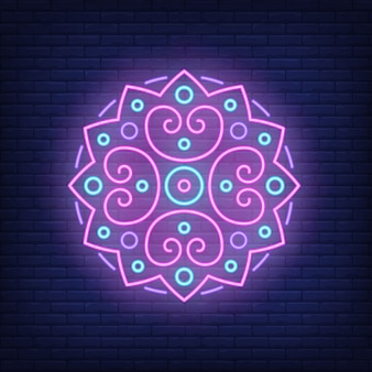 Round mandala pattern neon sign