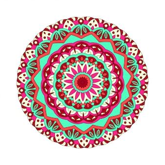 ベクトルの丸いマンダラ。あなたのデザインのグラフィックテンプレート。装飾的なレトロな飾り。花で描かれた背景を手します。
