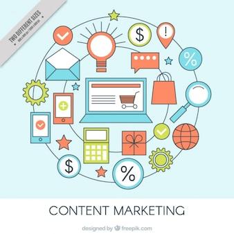 Background di marketing rotonda con oggetti piatti