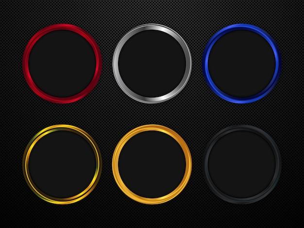 Круглые металлические рамы набор векторных дизайн