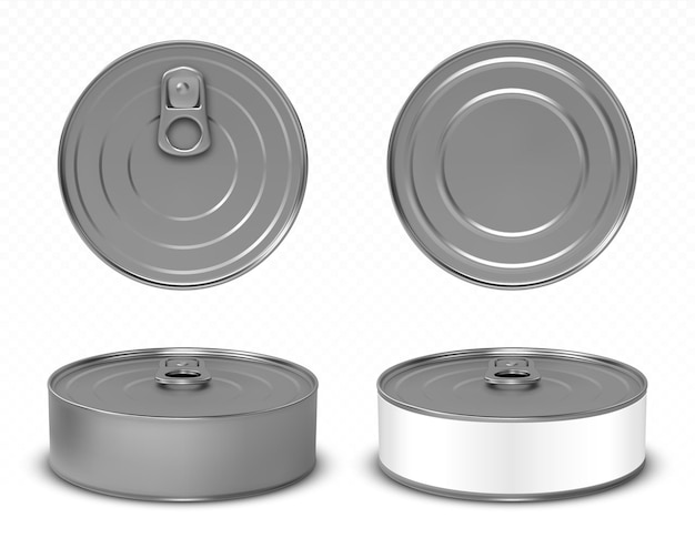 Round metal tin cans for food