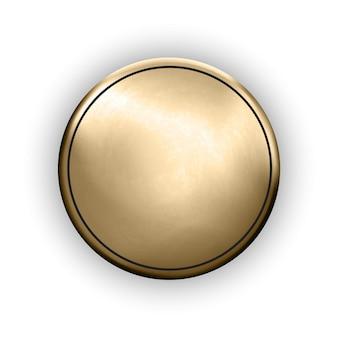 ラウンドメタリックディスクまたはボタンメタルテクスチャ素材リアルなトロフィーオブジェクト金メダルモックアップ