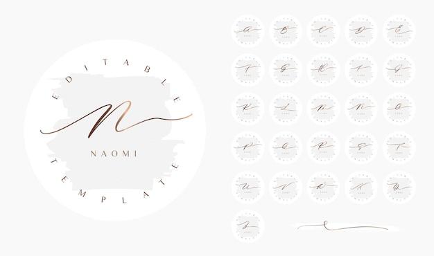 Круглый минималистичный женский курсивный дизайн логотипа с элегантной полосой