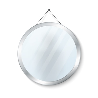 Round mirror with steel frame vector illustration