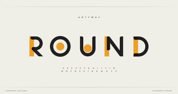 Круглый современный алфавит упал потрясающий тип шрифта для футуристического заголовка логотипа, креативных надписей и