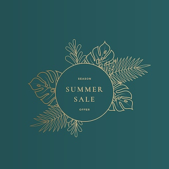 Round monstera tropical leaves summer sale card or banner template