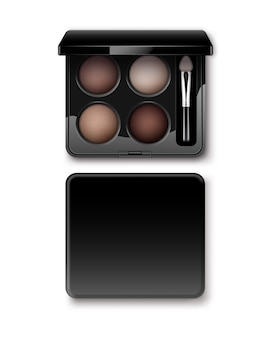 Round multicolored pastel light brown cream ocher eye shadows in black rectangular plastic case with makeup brush applicator top view isolated