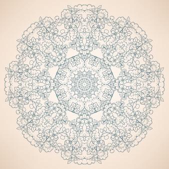 Круглый натуральный синий узор