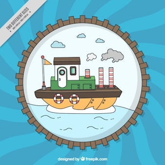 Round nautical background with ship