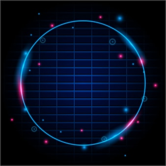 Round neon light frame background
