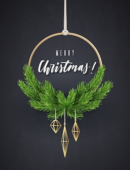 Round new year's wreath with fir branches. modern christmas interior decoration,