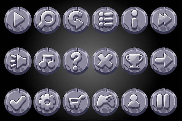 Round old stone buttons for game gui.
