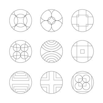 円形または円形のロゴマークコレクションセット。 monoline幾何学的なロゴマーク