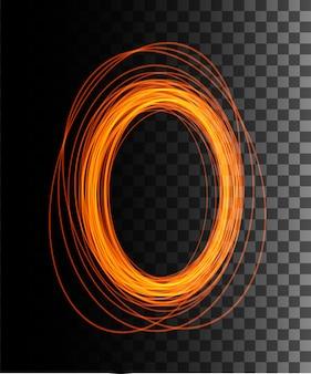 火花と丸いオレンジ色のグロー光線の夜のシーン