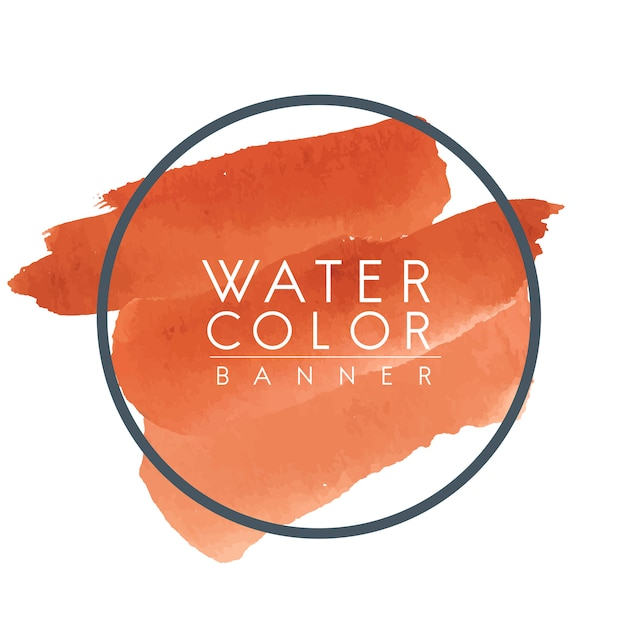 Round orange watercolor banner vector