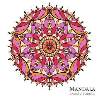 Круглый орнамент с арабскими и индийскими мотивами. священный символ, буддизм и медитация, элемент декора.