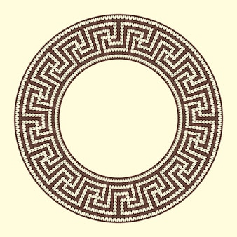 Round ornamental brown colored frame isolated