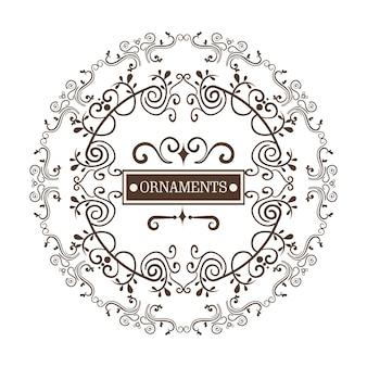 円形の装飾フレームと装飾品は、白い背景に署名します。ベクトル図。