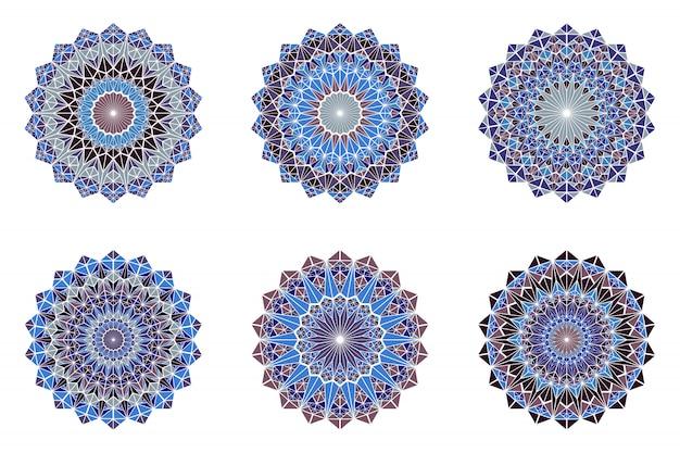 Round ornate colorful triangle mosaic mandala logo set