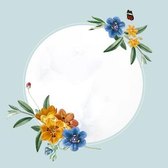 丸い楕円形の花のフレームベクトル