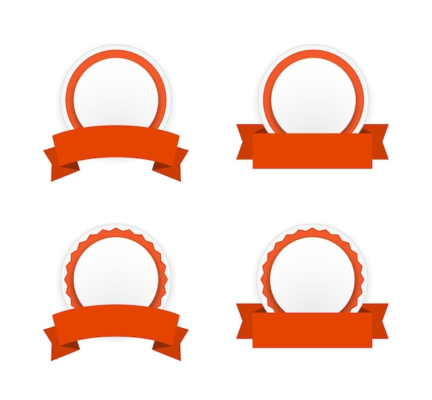 Round paper banner badge with ribbon icon set