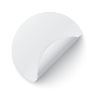 Круглый шаблон бумажной наклейки с загнутым краем и тенью