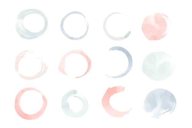 Round pastel watercolor elements vector