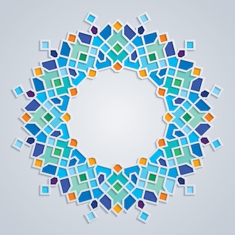 Round pattern colorful mosaic islamic geometric ornament