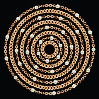Round pattern made with golden chains and pearls.