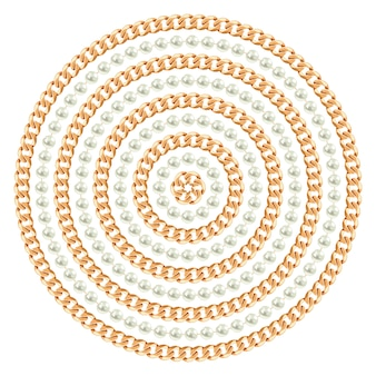 Round pattern made with golden chains and pearls