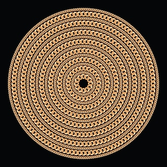 Round pattern made with golden chains.