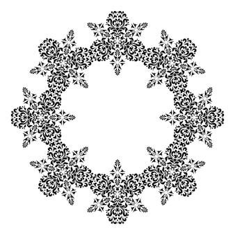 원형 패턴 프레임 텍스트를 위한 장소가 있는 원형 다마스크 패턴 아라베스크가 있는 프레임