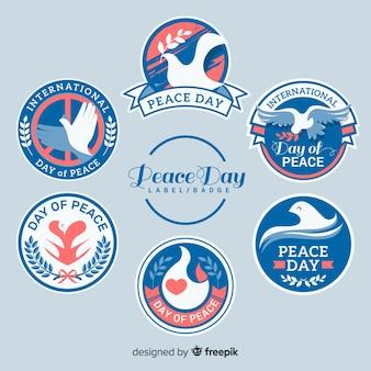 ラウンド平和の日のラベルのコレクション