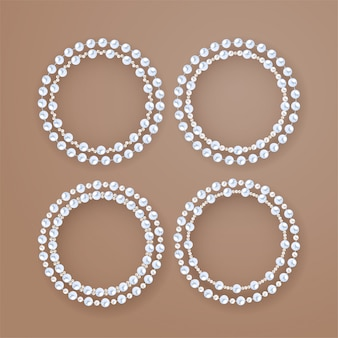 Round pearl frames set