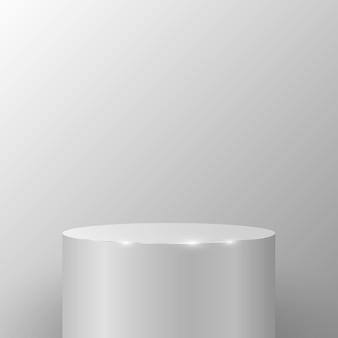 あなたの製品やプロジェクトを提示するために、明るい壁に対して丸い台座。円筒形の表彰台。 3dシーン