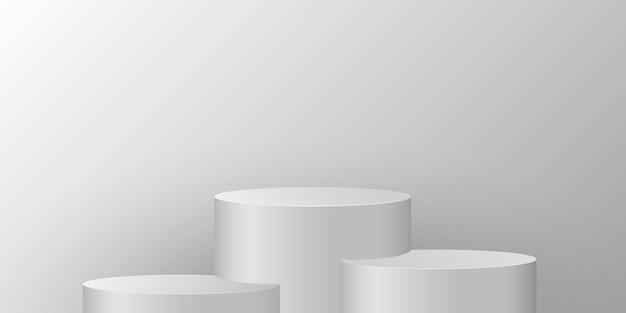 明るい背景に丸い台座。当社製品を展示するための円筒形の表彰台。 3dステージ。ベクター