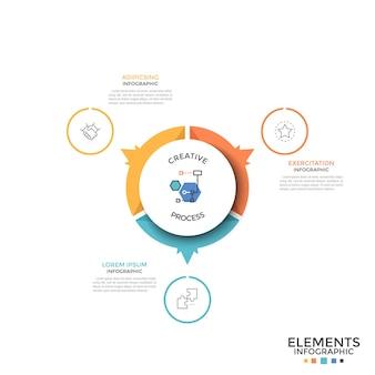 Круглая круговая диаграмма разделена на 3 равные красочные части или сектора со стрелками, указывающими на символы тонких линий и текстовые поля. творческий инфографический шаблон дизайна. векторная иллюстрация для презентации.