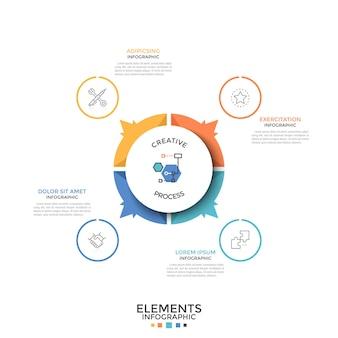 Круглая круговая диаграмма разделена на 4 равные красочные части или сектора со стрелками, указывающими на символы тонких линий и текстовые поля. творческий инфографический шаблон дизайна. векторная иллюстрация для презентации.