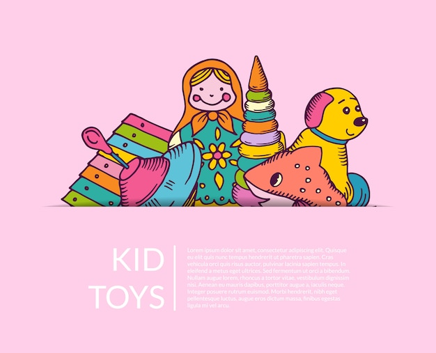 Round pile of kid toys elements half hidden  with place for text