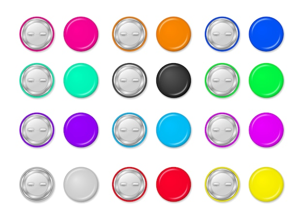 Round pinned badges tag, glossy metal button, realistic brooch pins. collection of colorful pin buttons isolated on transparent background. 3d style.
