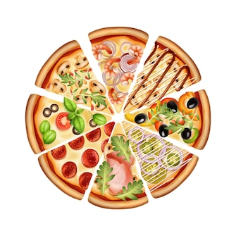 Round pizza cut into slices with various variants of fillings